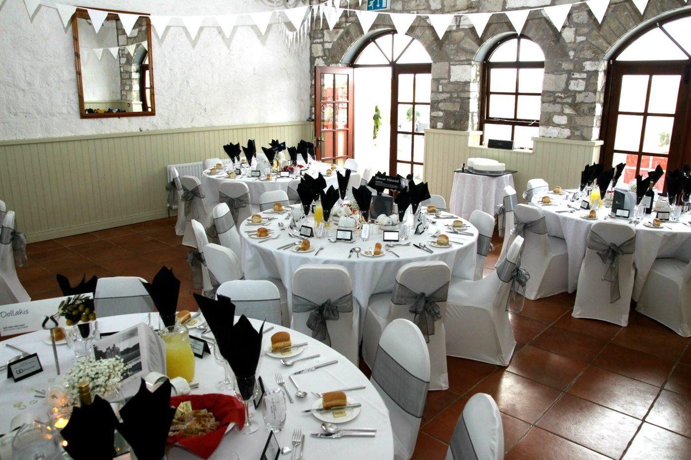 The Coach House at Blessingbourne decorated for a wedding reception