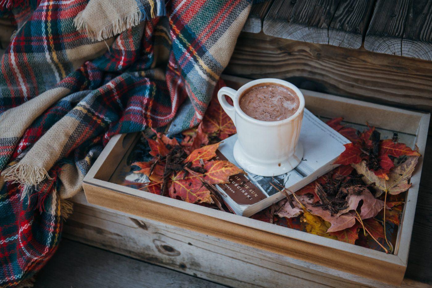 hot chocolate autumn books leaves